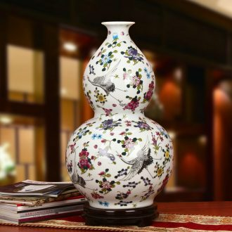 Jingdezhen ceramics powder enamel noctilucent pine crane hoist of large vases, modern Chinese style household crafts