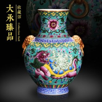 Jingdezhen antique vase furnishing articles hand - made green enamel enamel gold head Chinese study to collect the arts and crafts