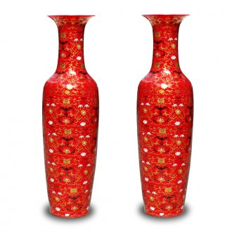 Jingdezhen ceramics China red gold bat around branch lines of large vase hotel sitting room adornment is placed