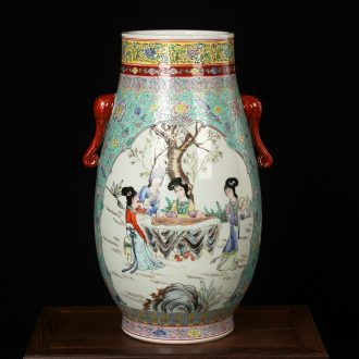 Jingdezhen ceramics hand - made pastel double elephant ladies image first great vase was Chinese style household furnishing articles