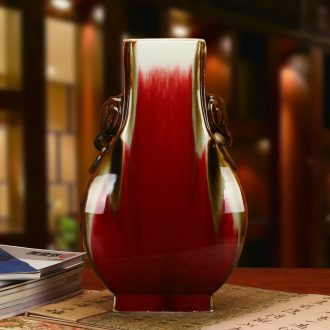Jingdezhen ceramics high - end color glaze lang red sharply double elephant ears sweet vase collection of arts and crafts