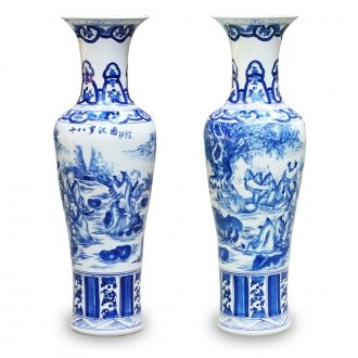 Jingdezhen ceramics hand - made of 18 arhats landing big blue and white porcelain vase Chinese sitting room adornment is placed