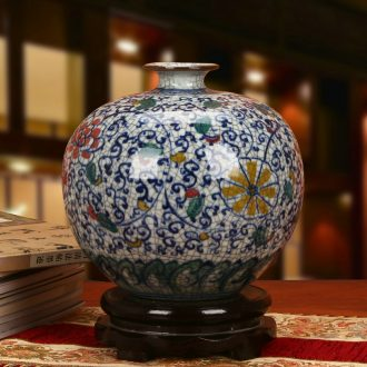 Jingdezhen ceramics classic hand - made color crack glaze pomegranate flowers of blue and white porcelain vase Chinese furnishing articles