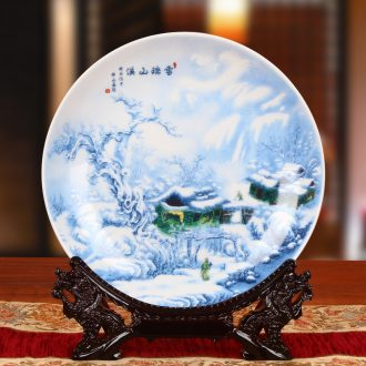 Blue and white landscape snow hang dish plate JingDeDe ceramics faceplate of rural household of Chinese style household furnishing articles