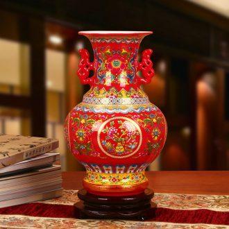 Jingdezhen ceramics wedding anniversary gifts crystal glaze ears Chinese red vase Chinese style furnishing articles of handicraft