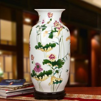 Jingdezhen ceramics powder enamel lotus pure flower vase idea gourd of large modern Chinese rural household furnishing articles