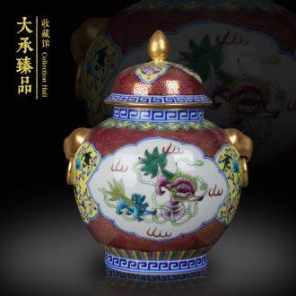 Jingdezhen hand - made gold enamel and open the world lion lion ear small tea pot storage tank furnishing articles of handicraft