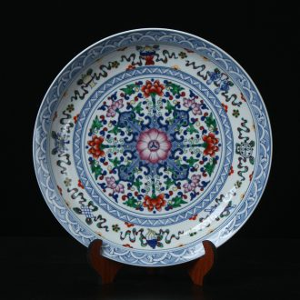 Jingdezhen ceramics high - end antique porcelain dou sat colors hang dish plate modern Chinese handicraft collection