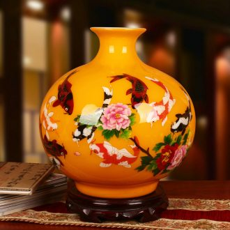 Jingdezhen ceramics high - grade gold fish every year a large vase modern home collection handicraft furnishing articles