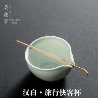 A Man with a green rest ceramic teapot portable travel each crack a cup of green tea tureen tea gift box packaging