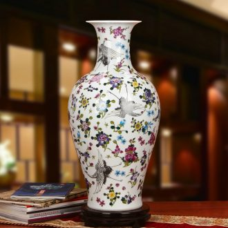 Jingdezhen ceramics powder enamel noctilucent pine crane, guanyin of large vases, modern Chinese style household crafts