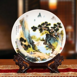 Jingdezhen ceramics powder enamel Chinese traditional Chinese painting landscape sit faceplate hang dish plate household adornment furnishing articles