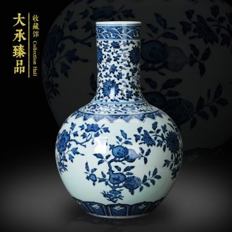 Jingdezhen ceramics vase furnishing articles hand - made antique bound branch pomegranate grain celestial vase of blue and white porcelain collection