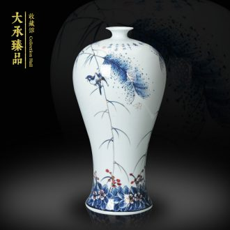 Modern Chinese hand - made flowers and birds of blue and white porcelain of jingdezhen ceramics name plum bottle home furnishing articles sitting room adornment