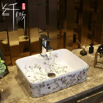 The Rural style on the ceramic bowl, square, European art basin sink basin bathroom sinks to the sink