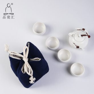 The Product porcelain sink a pot of four penguins pot of portable office tea tea set individual up ceramic cotton and linen to receive package