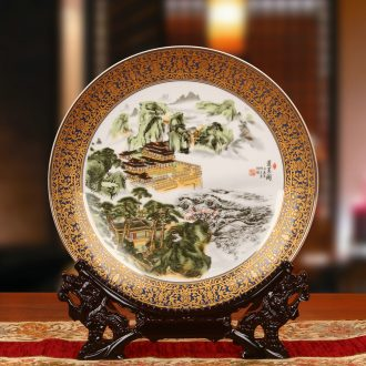 Jingdezhen ceramics classical landscape penglai pavilion faceplate hang dish plate modern household adornment furnishing articles