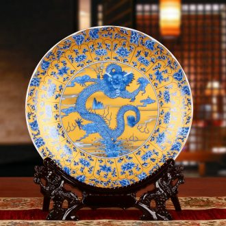 Jingdezhen ceramics classic dragon totem faceplate hang dish modern household adornment handicraft decoration plate
