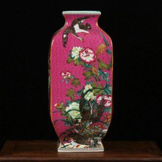 Jingdezhen ceramics enamel vase pastel colored antique furnishing articles peony flower landscape Chinese art deco