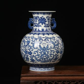 Jingdezhen ceramics hand - made bound branch ears lion shell vase Chinese style classical decoration home crafts