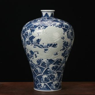 Jingdezhen is ceramic vase high - grade porcelain carving hand - made tenglong vase was the study of Chinese style household furnishing articles