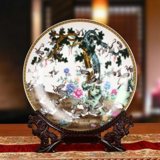 Jingdezhen ceramics powder enamel pine crane live sit faceplate hang dish plate was Chinese style household decorative furnishing articles