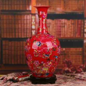 Jingdezhen ceramics Chinese red in extremely good fortune of large vases, classical Chinese style household decoration process