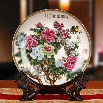 Jingdezhen ceramics peony flowers prosperous faceplate hang dish plate of rural household decoration decoration
