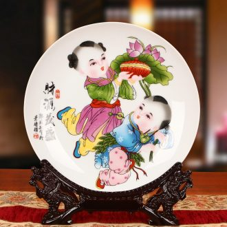 Jingdezhen ceramics lad coining money hang dish plate faceplate modern furnishing articles of Chinese style household decoration