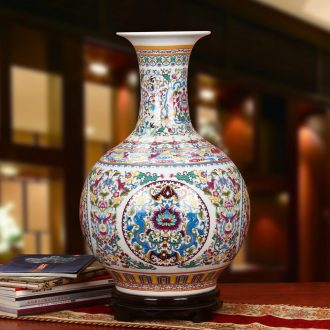 Jingdezhen ceramics powder enamel bound branch lotus ssangyong design of large vases, Chinese style household crafts are set