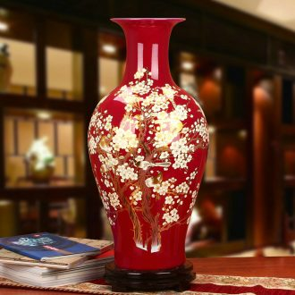 Modern Chinese jingdezhen ceramics 12 xi mei red name plum blossom put pay-per-tweet landing big vase home furnishing articles