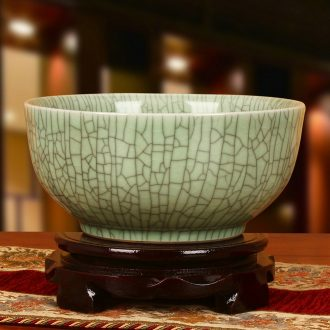 Jingdezhen ceramic antique officer elder brother up with crack open a piece of big bowl of green storage tank can act the role ofing is tasted furnishing articles