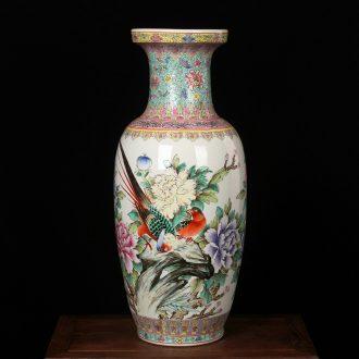 Jingdezhen ceramics factory goods hand - made powder enamel big vase peony modern Chinese style household crafts