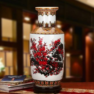 Jingdezhen ceramics powder enamel cold name plum proud snow up phnom penh wooden stick of large vases, modern Chinese style household furnishing articles
