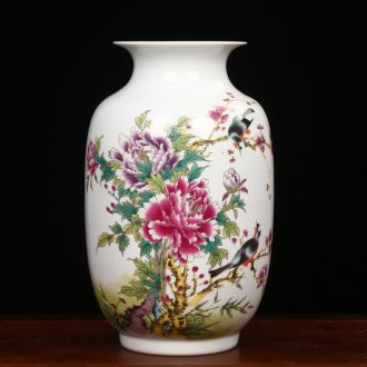 Modern Chinese jingdezhen ceramics powder enamel peony flowers and birds idea gourd vase household handicraft furnishing articles sitting room