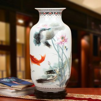 Jingdezhen ceramics powder enamel lotus fish idea gourd of large vases, modern Chinese style household crafts are set