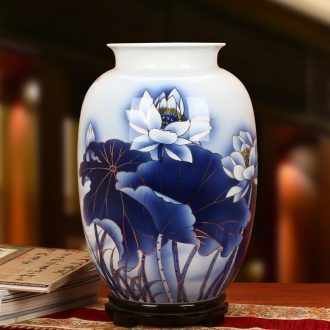 The see colour blue and white porcelain of jingdezhen ceramics high - grade hand - made lotus flower vases, The sitting room is The study of Chinese style household furnishing articles