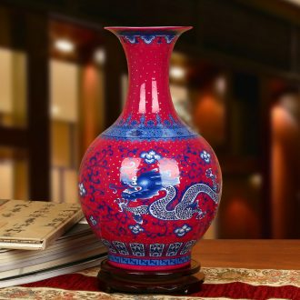 Jingdezhen ceramics high - grade enamel see colour rose red porcelain bottle contracted home furnishing articles for modern decoration
