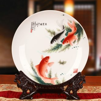 Jingdezhen ceramics fish le figure sat dish hang dish faceplate modern furnishing articles of Chinese style household decoration