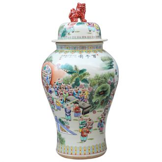 Jingdezhen ceramics hand - made pastel the ancient philosophers figure the general pot of large vases, classical Chinese style living room furniture