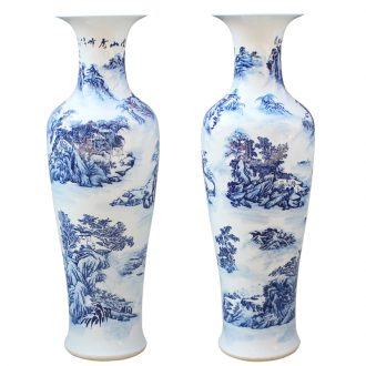 Jingdezhen ceramics hand - made modern blue and white landscape of large vase sitting room hall decoration decorative furnishing articles