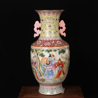 Archaize of jingdezhen ceramics factory goods pastel pretty figure eight large vases, modern Chinese style household crafts
