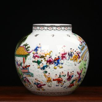 Jingdezhen ceramics antique Ming and the qing dynasties Wang Zhenxi hand - made figure large pot home collection handicraft furnishing articles the ancient philosophers