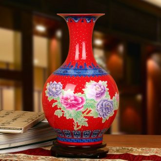 Jingdezhen ceramics high - grade enamel see China red peony prosperous golden vase modern Chinese style household furnishing articles