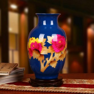 Jingdezhen ceramics vase modern vogue to live in the riches and honor peony blue idea gourd vases handicraft furnishing articles