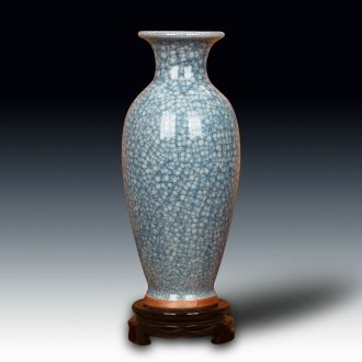 Jingdezhen ceramic vase archaize of jun porcelain up blue ice piece of modern Chinese style classical decoration vase furnishing articles