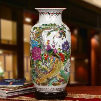 Idea for gourd jingdezhen ceramics powder enamel birds pay homage to the king of large vases, modern Chinese style household crafts