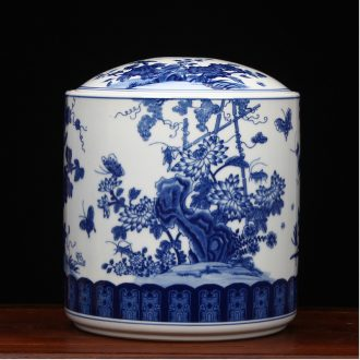 Blue and white porcelain of jingdezhen ceramics furnishing articles large peony flower pot of pu 'er tea store receives all around tea cake tin