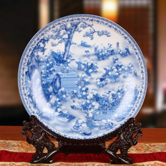 Jingdezhen blue and white ceramics the ancient philosophers figure the lad sit hang dish plate faceplate Chinese style household crafts