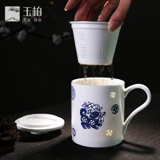 Jade jingdezhen ceramic tea set mark parker and exquisite porcelain with cover filter cup white porcelain master single CPU flourishing